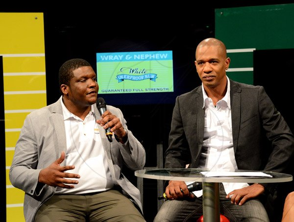Winston Sill/Freelance Photographer J Wray and Nephew presents the Wray and Nephew White Overproof Rum Contender 2014 Season Launch, held at TVJ Studios, Lyndhurst Road on Thursday night March 13, 2014. Here are Cecil Smith (left), Group Brand Manager-Rums, j wray and Nephew; and Gary Dixon (right) Marketing Director, J  Wray and Nephew.