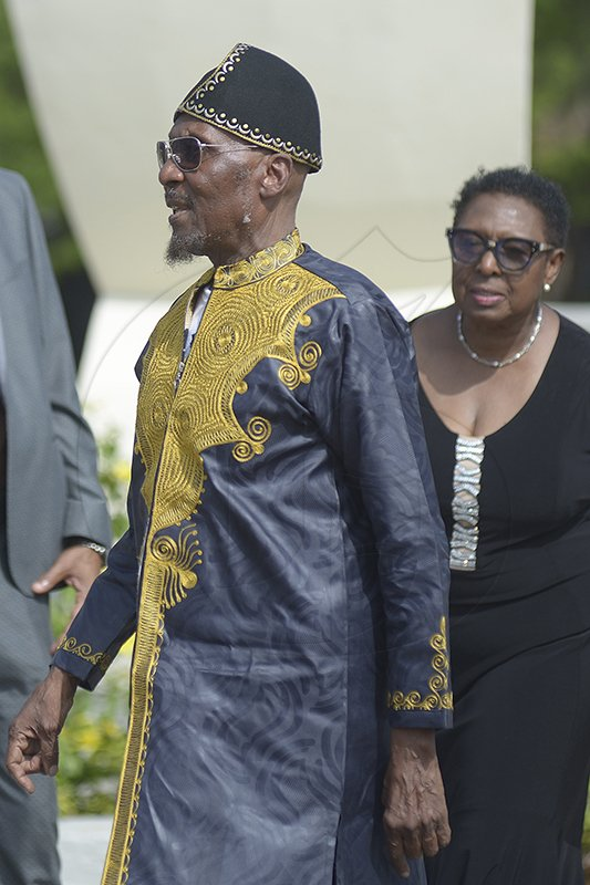 Shorn Hector/Photographer Reggae icon Jimmy Cliff arrives at the National Heroes Circle for the burial ceremony of the late Edward Seaga, former Prime Minister of Jamaica, on Sunday June 23, 2019