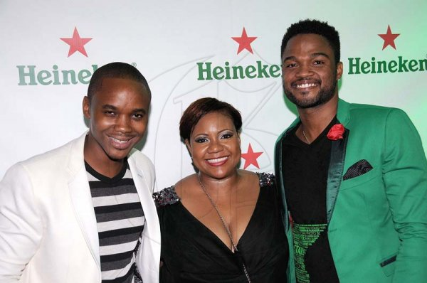 Winston Sill/Freelance PhotographerHeineken Inspire, Be A Star result Show and Party, held at  Fort Rocky, Port Royal on Saturday night October 5, 2013. Here are Kamal Powell (left), Public Relations Brands Manager; Nasha Douglas (centre), Heineken, BrandManager; and Imru James (right), Assistant Brand Manager, Heineken.