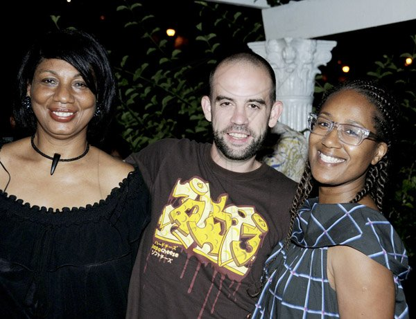 Winston Sill / Freelance Photographer Ian Lyn host  Birthday Party for June Daley, President of Miss Jamaica UK Pageant, held at Waterworks Road on Monday night February 4, 2013. Here are June Daley (left); Steve Tattersall (centre); and Erica Myers-Tattersall (right).
