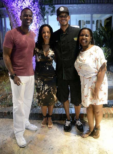 Gladstone Taylor / Photographer  l-r Brian McKnight, Leisha Wong, Chef Roble and Jacqui Sinclair  KGN Kitchen, Signature Series held at the Guilt restaurant, Devon House, Kingston on friday night