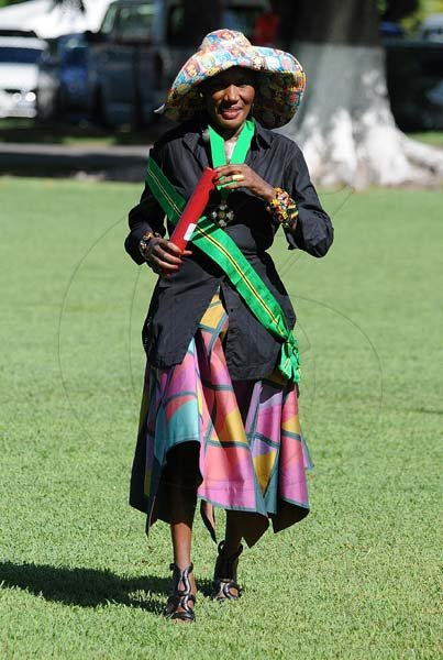 Lionel Rookwood/PhotographerGrace Jones walks back after recieving The Order of Jamaica during the National Awards and Honours held at King's House on October15th,2018