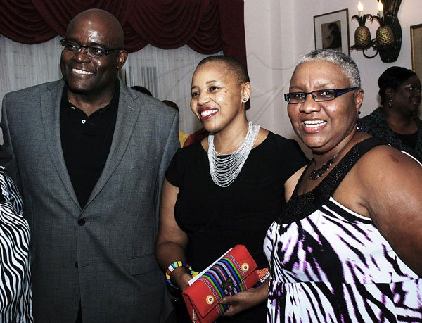 Colin Hamilton/Freelance Photographer Team Reception for the Sunshine Series 2012 at the Hotel Four Seasons on June 13, 2012. From left, President of Supreme Ventures Brian George, SA High Commissioner Mathu Joyini and President of the Jamaica Netball Association Marva Bernard.