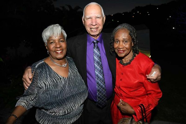 Rudolph Brown/ PhotographerAudley Hewett and his wife Shelly, (left) pose with Mearle Barrett at  Norma Cohen  80th birthday party with family and friends at Orange Crescent in St. Andrew on Saturday January 19, 2019