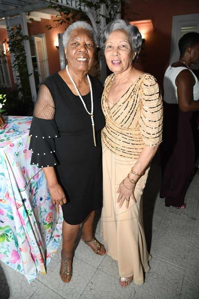 Rudolph Brown/ Photographerfrom left are Valda Green and Salia Jones at Norma Cohen  80th birthday party with family and friends at Orange Crescent in St. Andrew on Saturday January 19, 2019
