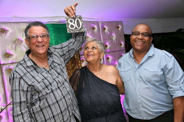 Rudolph Brown/ PhotographerNorma Cohen celebrate her 80th birthday party with borthers Wycliffe Cohen, (left) and Tony Cohen at Orange Crescent in St. Andrew on Saturday January 19, 2019