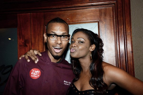 Winston Sill/Freelance Photographer Restaurant Week ambassador Camille Davis  and guest ----????  dine, at 689 Brian Lumley, Trinidad Terrace, New Kingston  on Monday night November 17, 2014. Here are Brian Lumley (left); and Camille Davis (right).