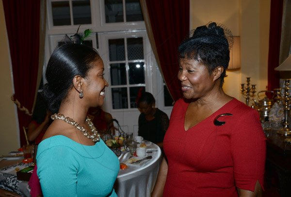 Winston Sill/Freelance Photographer Dress for Success Jamaica annual Fundraising Tea Party, held at the British High Commission, Trafalgar Road on Thursday night November 7, 2013. Here are Digicel's Jackie Burrell-Clarke (left); and Lady Patricia Allen (right).