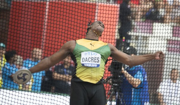 Fedrick Dacres competes in the discus throw qualifiers