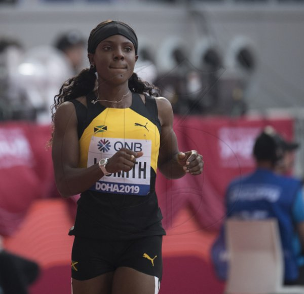 Elaine Thompson competes in the womens 100m event at the